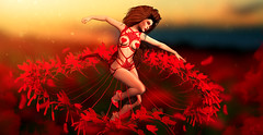 Sensual dance (meriluu17) Tags: boudoir red feather rose roses dance sensual land landscape light lights catwa magical magic surreal people outdoor