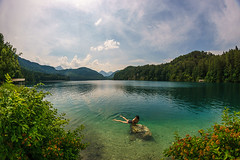Taking a bath in the Alpsee (martintimmann) Tags: lenstagger romance see water germany sky lake deutschland wasser himmel