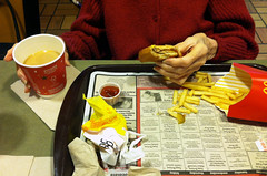 Day 330:  recovery underway (Mark.Swanson) Tags: mcdonalds restaurant fries cheeseburger coffee