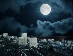 I took this shot from my bedroom window. (michaelasss) Tags: full moon night dark brighton sussex uk england luna city scape