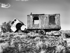 Ford truck with tiny house (MROEDEL) Tags: roedel madridminer madrid monochrome new mexico truck derelict ruined abandoned hills cerrillos