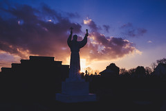 (Ails N hgeartaigh) Tags: sunny sun sunset dusk light religion christian christianity ireland irish europe european earth sony sonya7 sky clouds cloudy zeiss za a7 church churches statue world