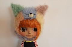 Patchwork kitty (Mimsy bear) Tags: blythe hat helmet mimsy bear kitty tiina custom