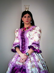 The Princess (blackietv) Tags: dress fullskirt gown petticoat romantic crown tiara crossdresser tgirl transvestite crossdressing transgender princess queen costume purple white