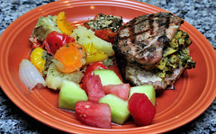 Stuffed and Grilled Porkchops - Roasted Veggies - Roasted tomato - Melon (PhotosbyLarryG) Tags: stuffed pork grilled mellon roasted vegatables tomatoesfooddinnerdelicious