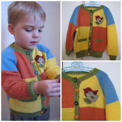 'Heart Felt' quirky birds upcycled cardigan (Heart felt) Tags: wool clothing warm recycled knitted heartfelt upcycled