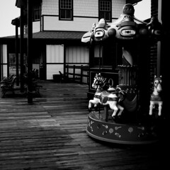 The Empty Carousel (D.Munoz-Santos) Tags: blackandwhite bw abandoned dark mood alone moody emotion empty highcontrast forgotten emotive remain ruined lifeless carouse mistreated lindawilliams brokn dmunozsantos