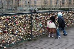 On the Seine (erinstotle) Tags: bridge paris france seine french romance locks parisian padlocks pontdesarts passerelledesarts loversbridge pedestrianbridges famousbridges europeanbridges