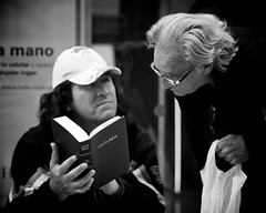 """""""Santa Biblia"""" learning the biblie (Nicolas Alejandro Street Photography) Tags: world street camera old city portrait people urban bw woman white man black streets eye argentine square lens four photography photo buenosaires focus flickr faces metro live candid documentary going oldman olympus scene best nicolas micro third format 12mm f18 alejandro 45mm journalism flicker omd streeter mft em5 nicolasalejandro wwwnicolasalejandrocom"""