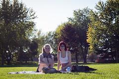 autumn picnic with Jacinte (linasamoukova) Tags: autumn trees sun tree nature field grass sunshine friend picnic sunny