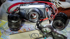 Travel Stuff (gambajo) Tags: camera travel fuji map technik fujifilm fujinon compas landkarte kompas elektronik kameras xe1 fujixe1