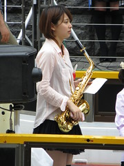 Strawberry Sundae Jazz Girls (Part 1) (Ogiyoshisan) Tags: people music cute girl japan japanese pretty live performance band jazz  osaka namba waterside dotonbori   kneehighsocks  streetsnap