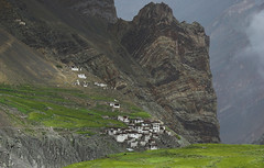 08x08x2006x0049 (andysuttonphotography) Tags: travel houses mountains green barley rural buildings countryside village traditional cliffs fields remote himalayas cultivation himalayan whitewashed