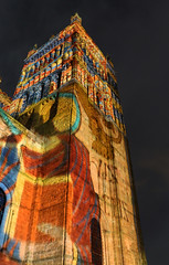 Towering with colour (Tony_Richardson) Tags: light tree tower canon project bag neon glow candle shine durham cathedral kitlens christmastree beam sparkle plastic lumiere 1855mm northeast artichoke flicker consumerist 2013 650d crownoflight keyframes aplacebeyondbelief