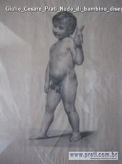 Giulio Cesare Prati Nudo di bambino disegno a matita 63x45 5cm 1885 Collezione privata G Prati