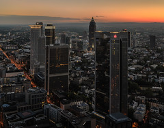 Frankfurt from Main Tower 04b (m@yphotos) Tags: city sunset sun nature skyline architecture germany deutschland town nikon europa europe sonnenuntergang hessen dusk frankfurt natur stadt architektur sonne frankfurtammain messeturm maintower d90