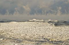 Arctic Blast on Lake Michigan (Light Brigading) Tags: bridge sky mist lake cold ice skyline wisconsin clouds landscape rocks waves michigan foam milwaukee icy lakefront hoan arcticblast