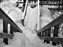 Down... (Jean S..) Tags: winter blackandwhite bw snow abstract monochrome stairs stairway wendake