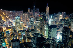 Chicago High (benchorizo) Tags: city longexposure urban chicago skyline buildings high nikon downtown cityscape skyscrapers nightshot searstower downtownchicago afterdark chicagoskyline chicagoist banias citynights illonggo d7000 willistower benchorizo