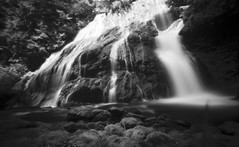 Pinhole of Panther Creek Falls (po1yester) Tags: blackandwhite film waterfall washington hiking pinhole ilfordsfx zeroimage panthercreekfalls summer2009
