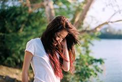 . (Khnh Hmoong) Tags: portrait lake film girl sunshine analog 35mm photography longhair analogue nikonfm kodakektar100