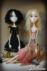 Agatha and Sophie Art dolls (Richelle Nicole) Tags: original art doll handmade ooak silk clay custom sfge