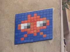 Space Invader LY_07 (tofz4u) Tags: blue red streetart france tile rouge lyon mosaic spaceinvader spaceinvaders bleu invader 69 mosaque artderue rhne ly07