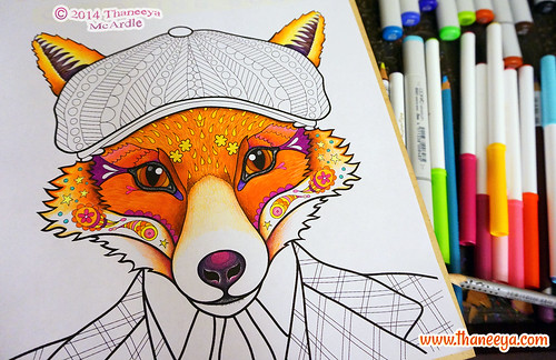 Colorful Snazzy Fox Coloring Page By Thaneeya McArdle