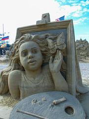 Artist painting a girl with butterfly (gaila3) Tags: ocean people sculpture sand artist nj atlanticcity boardwalk sandscape 2014 gaila3 worldchampionshipofsand