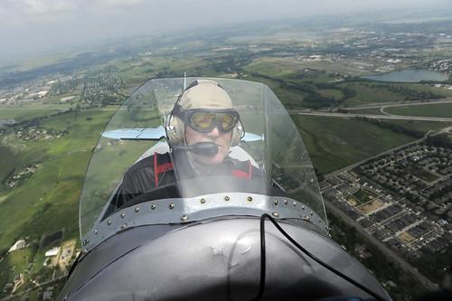 Photo - Flying in a World War II-era Bücker Jungmann German Biplane