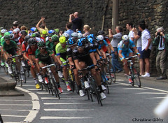 Sky lead the Peloton (ChristineGibbs) Tags: canon eos cycling yorkshire tourdefrance huddersfield eos7 canon1855usm