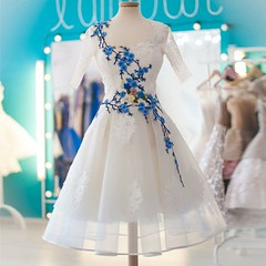 prom dress (maweiyu) Tags: 2017 prom dress promdress2017 promdress dresses gown lace line knee length square half sleeves appliques cute white short modern stylish sweet fashion