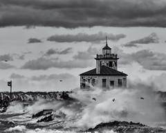 Oswego Lighthouse (george.m.hernandez) Tags: oswego waves wind lighthouse lakeontario centralnewyork blackandwhite bw