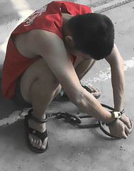 Prisoner violates prison rules and got punished (asiancuffs) Tags: handcuffs handcuffed arrest arrested shackles shackled inmate prisoner