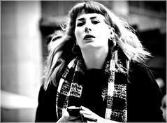 Pink (1980blue Street) Tags: street candid woman girl female mono monochrome blackandwhite cardiff queenstreet autumn
