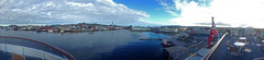 Panorama: Vardø Harbour, from the Deck of the MS Spitsbergen (1) (Phil Masters) Tags: panorama 19thjuly july2016 norwayholiday norway vardo vardø vardøchurch vardochurch globus globusii globusradar globusiiradar globusradome globusiiradome radome radar vardøharbour vardoharbour hurtigruten shipsandboats msspitsbergen