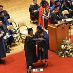 Professor Wendy Heller congratulates Natalie Watson