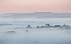 Church in the Cloud (Sarah_Brooks) Tags: mist fog foggy churnch somerset trees islands landscape autumn myautumn waves seaofmist inversion