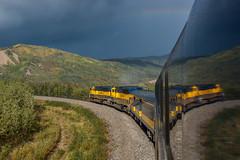 Alaskan Storm Light (sullivan1985) Tags: alaska alaskarailroad arr emd electromotive passenger passengertrain denalistar stormlight rainbow clouds rain refelction arr4320 arr4319 sd70mac northbound healy nenana