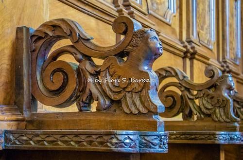 Guardia Lombardi (AV), 2016, La Chiesa Madre: particolari degli stalli del coro.