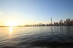 Toronto Skyline w/ setting sun (katharinabeniers) Tags: toronto skyline lakeontario ontario canada sunset ferry lake outdoors summer reflection canon tamron wideangle