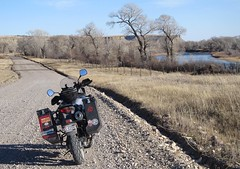 Floweree Road and Sun River.  Montana. (montanatom1950) Tags: motorcycle vstrom suzuki dl650 montana motorcycletouring