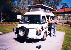 My grandfather and his Camper (Schwanzus_Longus) Tags: australia australian tasmania tasmanian van bus camper ford econovan maxi grandfather mazda outdoor fahrzeug auto