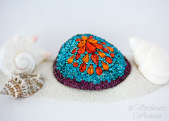 Jeweled Mosaic Shell by Verdonna Westcott (Verdonna.com) Tags: mosaic shell purple orange aqua aquamarine turquoise verdonna westcott vintage rhinestones pave art sea ark encrusted jewel
