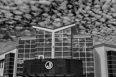 The J Building_BW (Kool Cats Photography over 8 Million Views) Tags: clouds building architecture hdr shape angles bw oklahoma buildingstructure canoneos6d ef24105mmf4lisusm photography