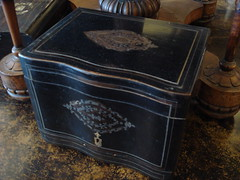 "19TH CENTURY BOULLE TANTALUS BOX, NO GLASSWARE. • <a style=""font-size:0.8em;"" href=""http://www.flickr.com/photos/51721355@N02/31265153731/"" target=""_blank"">View on Flickr</a>"