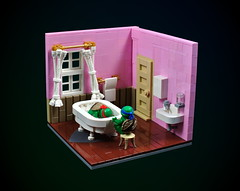 TMNT: Watching over Raphael (cecilihf) Tags: lego moc turtles ninjaturtles tmnt teenagemutantninjaturtles 1990 90s bathroom bathtub sink curtains