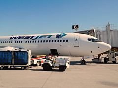 Westjet 737-8CT C-FYBK (kenjet) Tags: westjet boeing ramp airport desert california kpsp ps psp palmsprings palmspringsinternationalairport 737 twinjet 737800 7378ct cfybk airplane jet aviation airline airliner plane aircraft flugzeug baggage luggage ws