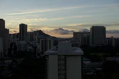 Dawn behind Diamond Head (Civilized Explorer) Tags: civex honolulu skyline oahu hawaii waikiki diamondhead sunrise