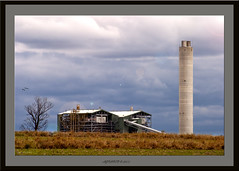 Millmerran power station. (agphoto100) Tags: blue chimney sky tree tower station birds canon lights power 10d